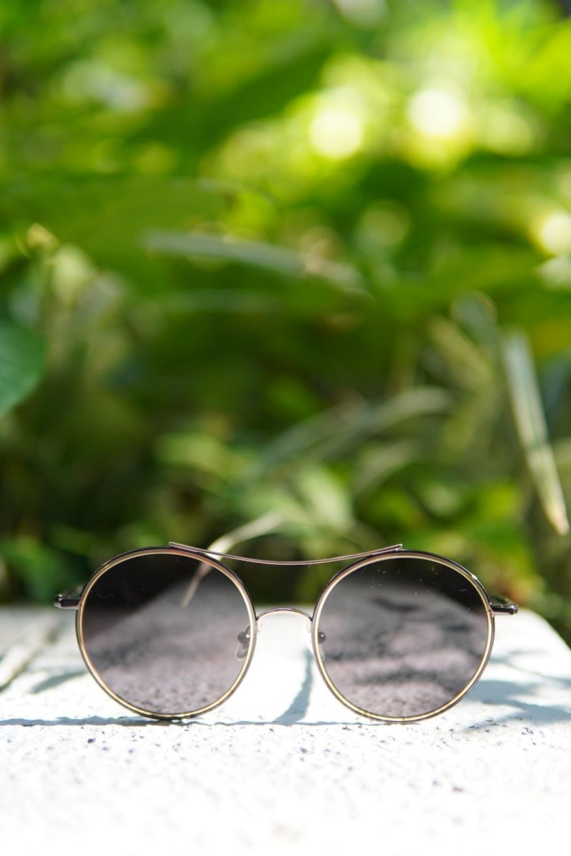 SHINY GOLD X GUNMETAL ROUND SHAPE SUNGLASSES F