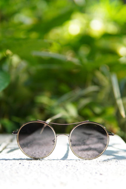 SHINY GOLD X GUNMETAL ROUND SHAPE SUNGLASSES F - #hapi Fish-GLASSES