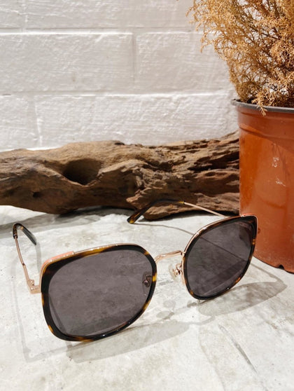 SHINY ROSE GOLD X DARK TORTOISE SQUARE SUNGLASSES F - #hapi Fish-GLASSES