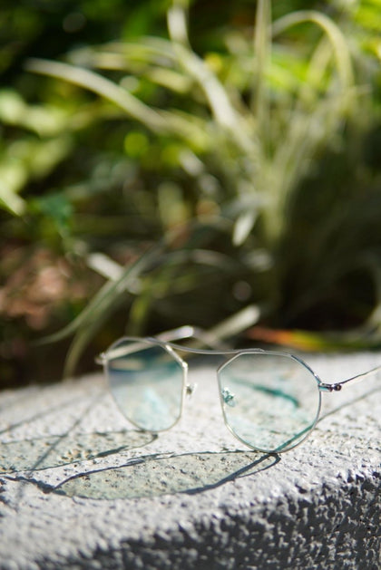 SILVER BLUE LENS ROUND SUNGLASSES F - #hapi Fish-GLASSES