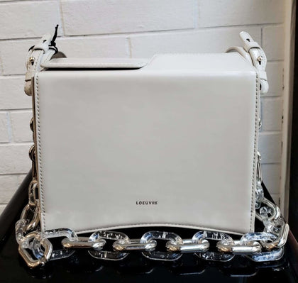 WHITE BOX SHOULDER BAG WITH SILVER CHAIN - #hapi Fish-BAG