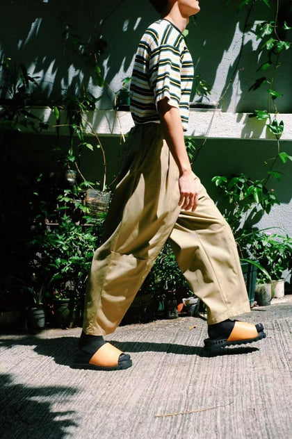 WOOL PANTS/ KHAKI - #hapi Fish-PANTS