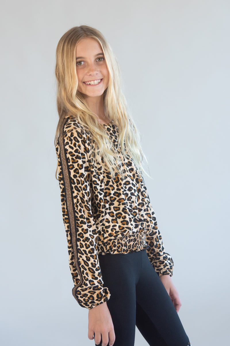 Smocked Waisted Leopard Long Sleeve