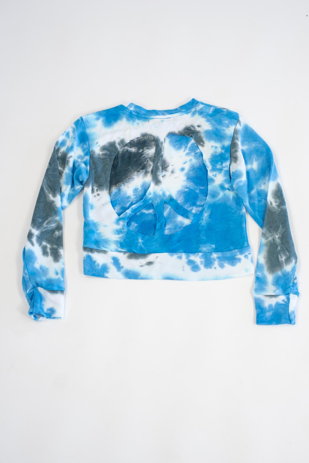 *Blue Tiedye Love Peace Cut-Out Sweatshirt*
