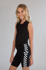 Star Checkerboard Black Bike Shorts