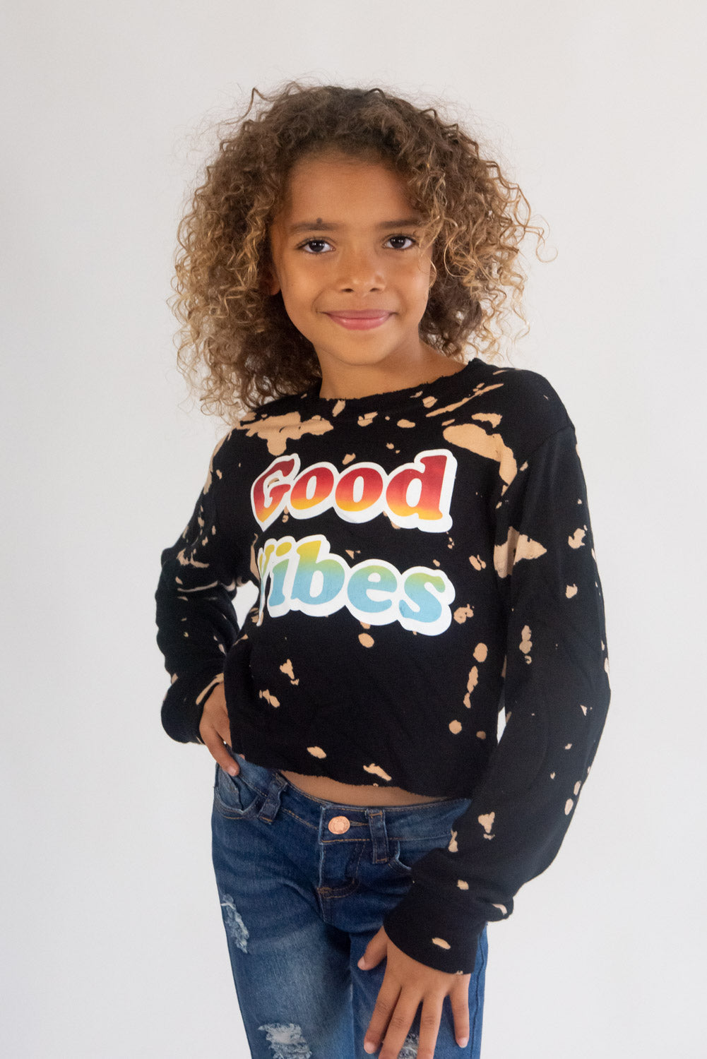 *Burn Out Good Vibes Cropped Sweatshirt*