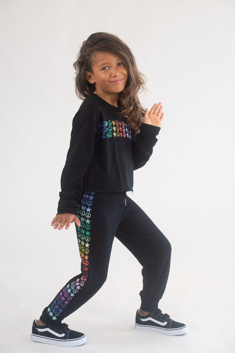 Peace & Stars Rainbow Sweatpants