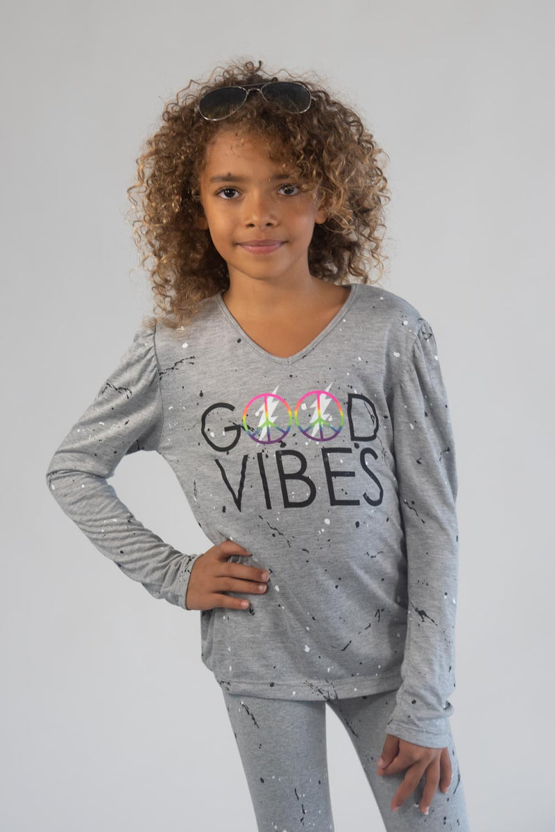 *Splatter Good Vibes Puffed Long Sleeve *