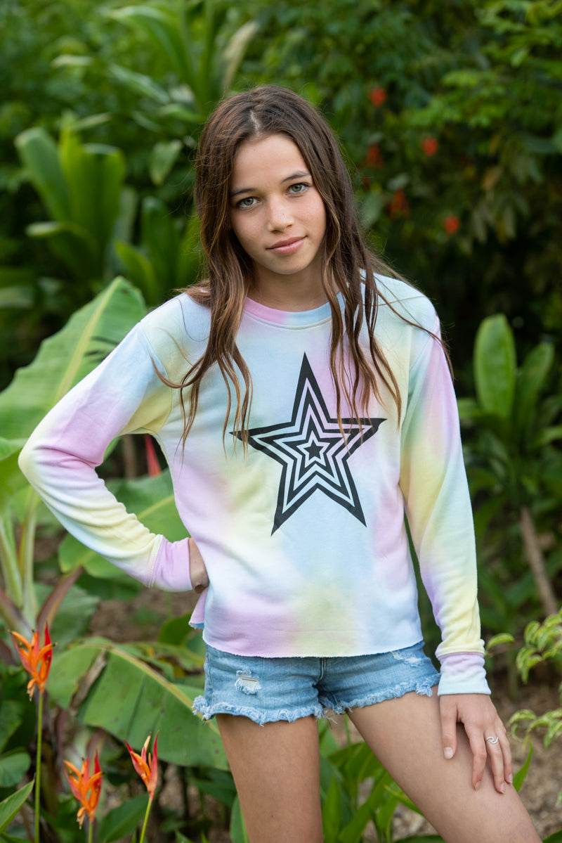 Black Star Pastel Cropped Sweatshirt