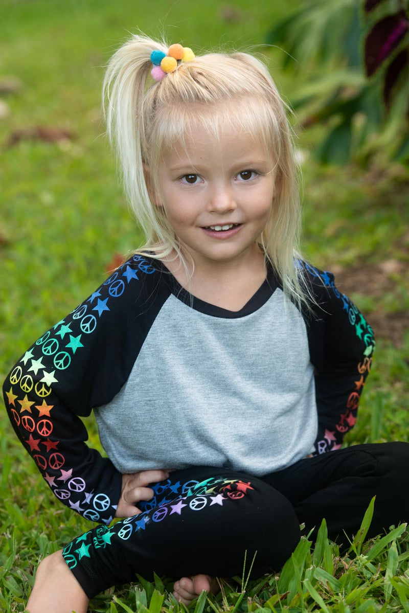 *Peace & Stars Rainbow Raglan Long Sleeve Tee*