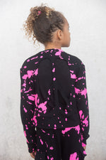 *Pink Splatter Cut-Out Peace Sweatshirt*