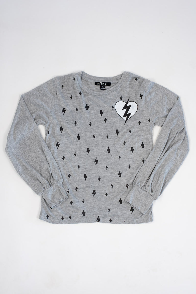 *Heather Grey Lightning Bolt Balloon Long Sleeve*