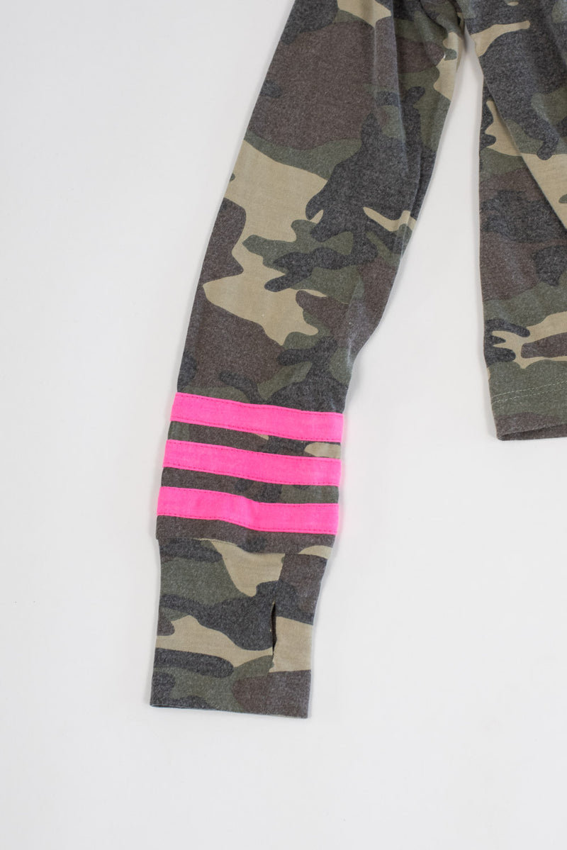 *Camo Pink Striped Long Sleeve*