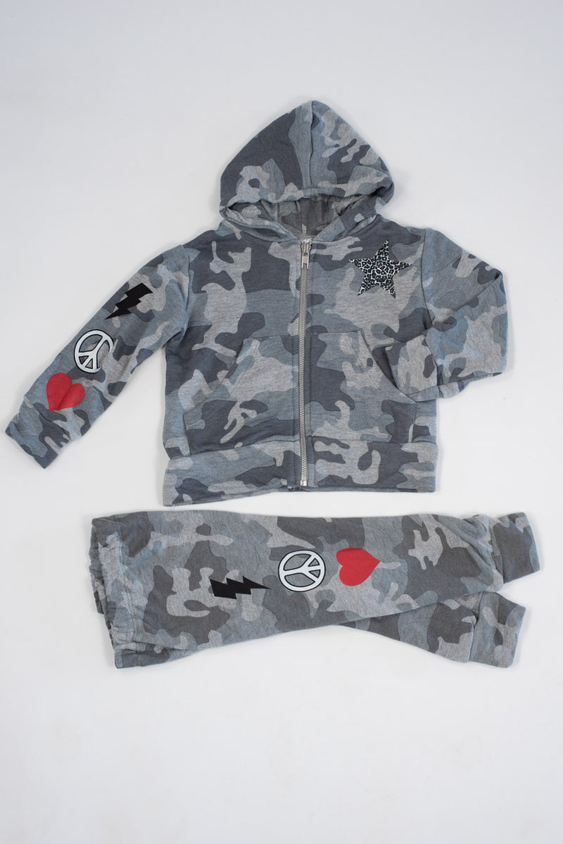 *Grey Camo Peace Zip-Up Hoodie Set*