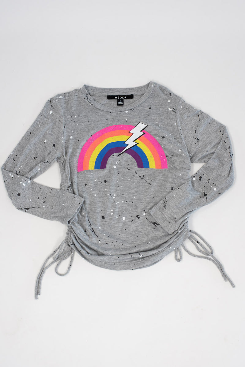 *Splatter Rainbow Side-Ruched Long Sleeve *