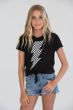Black and White Checkerboard Lighting Bolt Knotted Tee