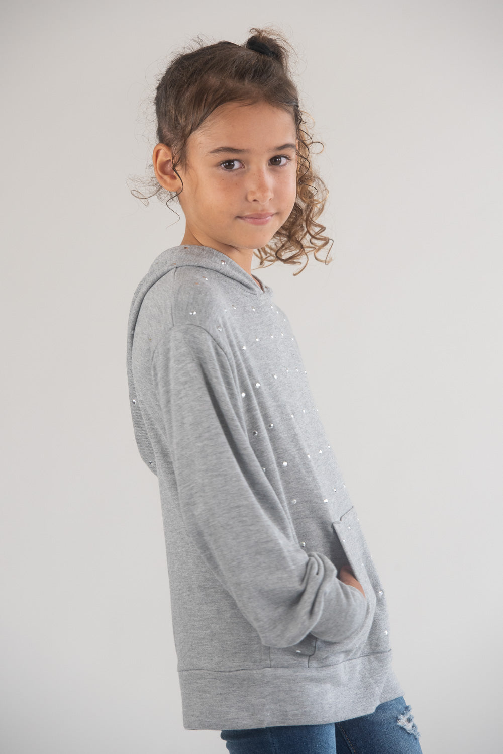 *Heather Grey Studded Balloon Sleeve Hoodie*