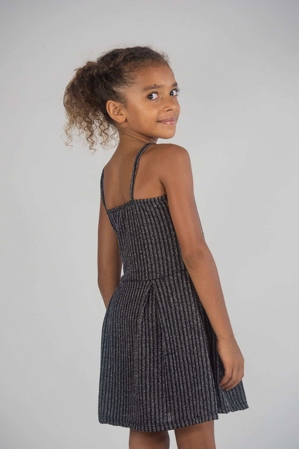 *Black and Silver Glitter Striped Dress*
