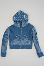 *Blue Vintage Washed Bandana Cropped Zip-Up Hoodie*