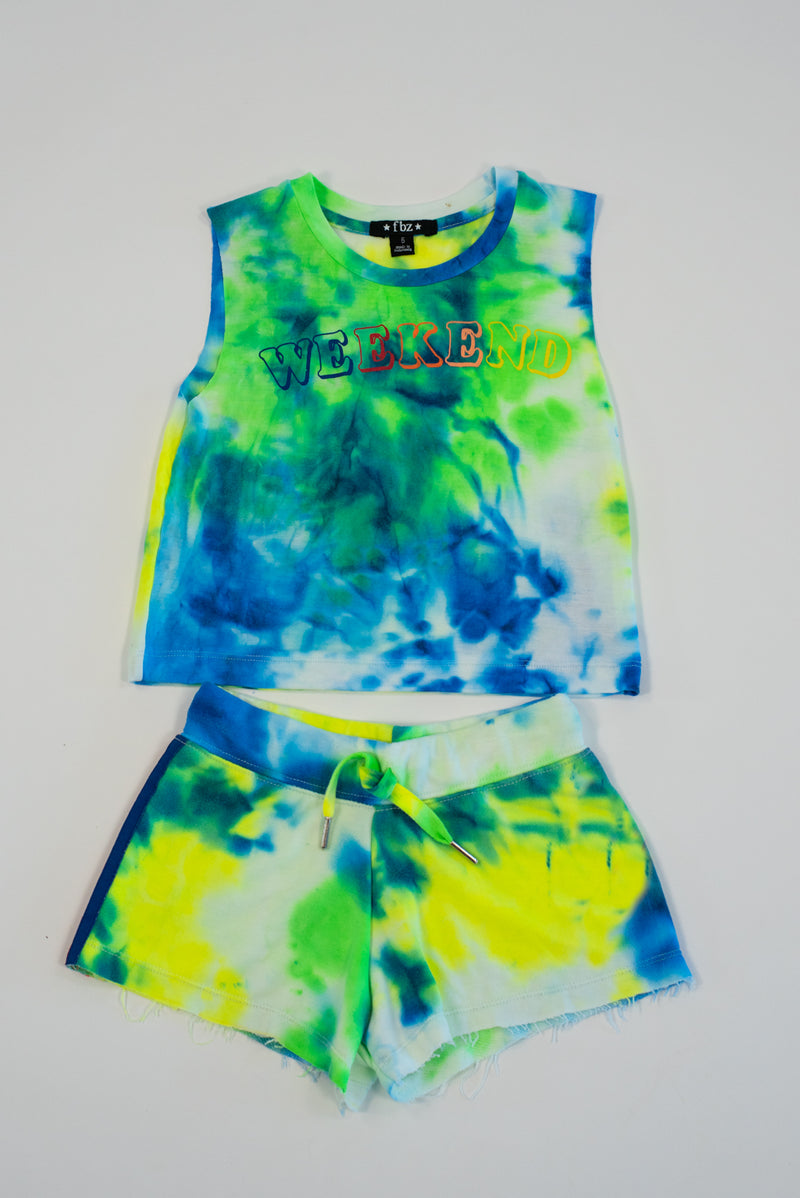 *Neon Blue Weekend Tiedye Cropped Tank*