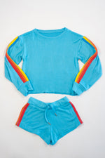 *Neon Turquoise Striped Cropped Sweatshirt*