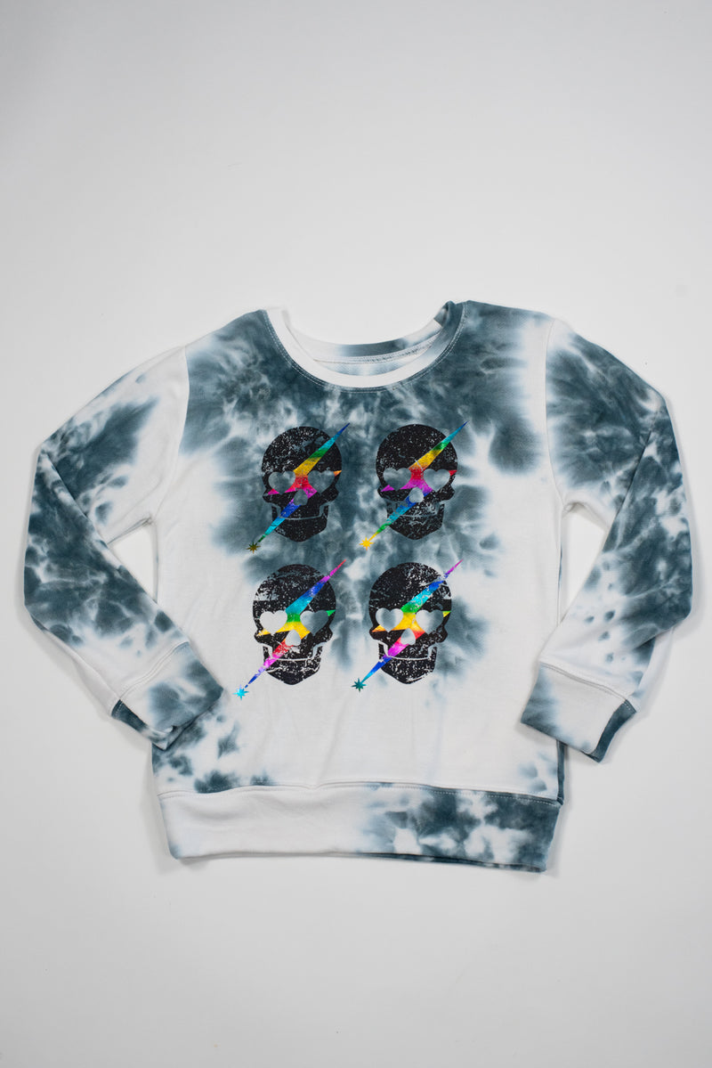 *Charcoal Tiedye Skulls Sweatpants*