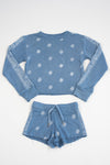 *Blue Vintage Washed Bandana Cropped Sweatshirt*