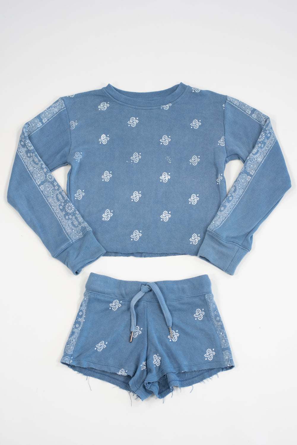 *Blue Vintage Washed Bandana Shorts*