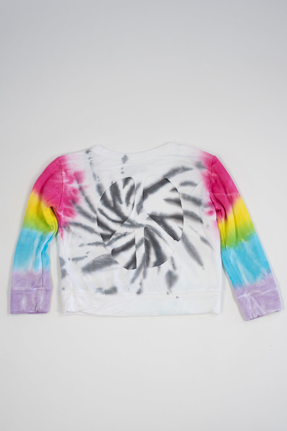 *Grey Swirl Tiedye Peace Cut-Out Cropped Sweatshirt*