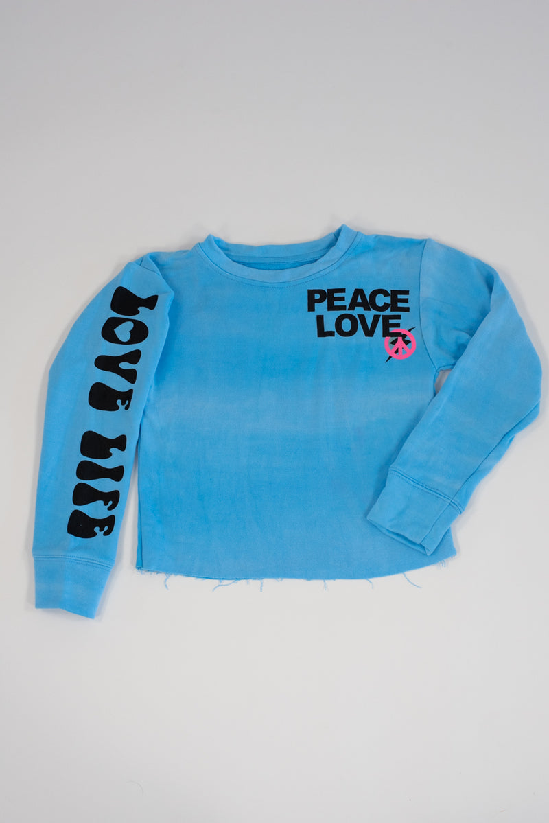 *Peace Love / Love Life Neon Turquoise Cropped Sweatshirt*