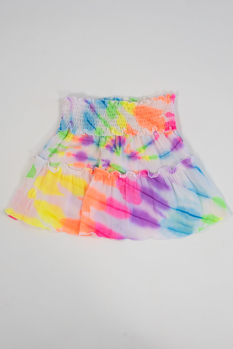 *Neon Tiedye Smocking Skirt*
