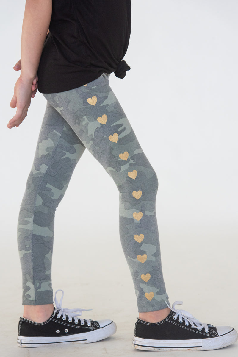 Camo Gold Heart Leggings