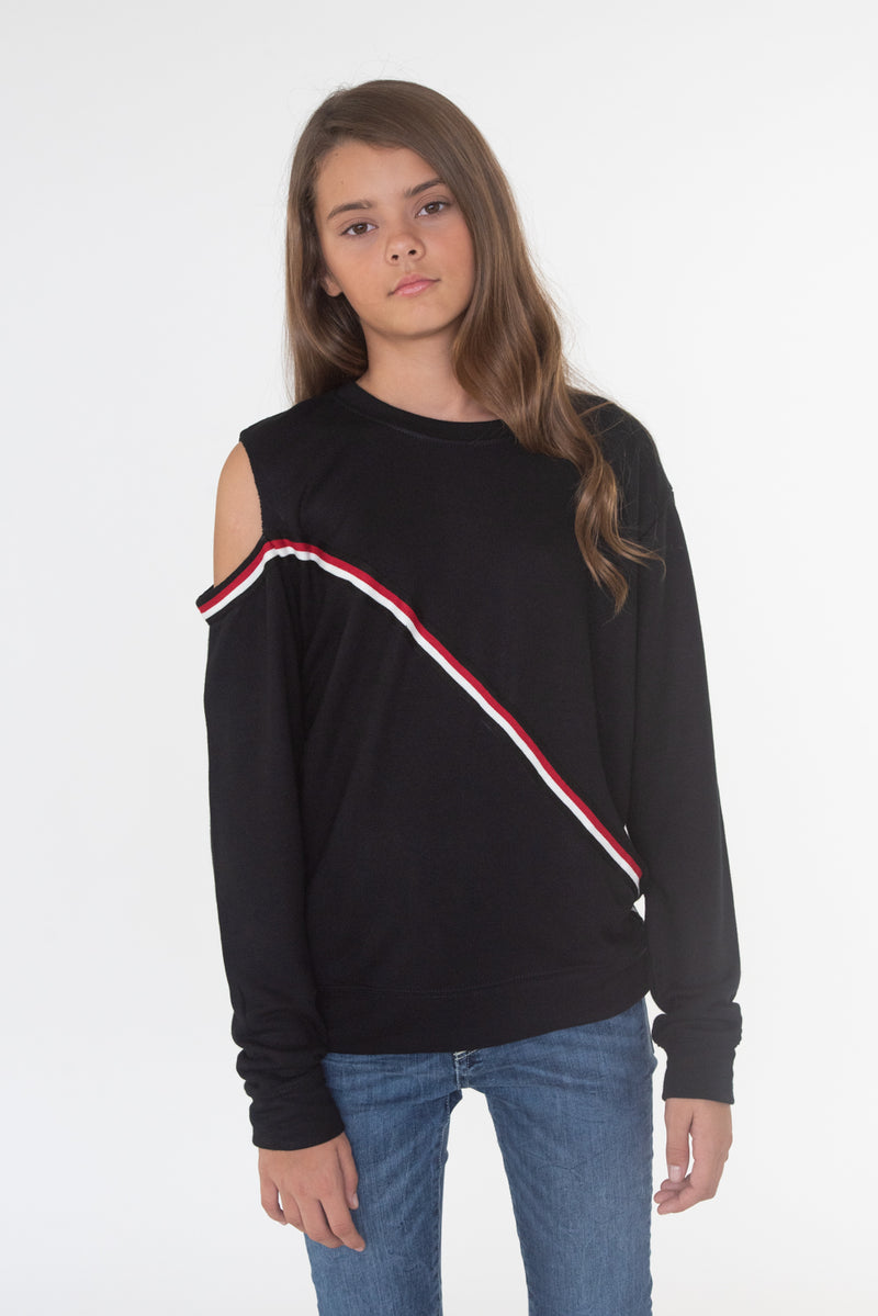 Cold Shoulder Red Taping Sweatshirt