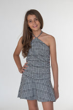 Checkerboard Tweed Dress with Red Taping
