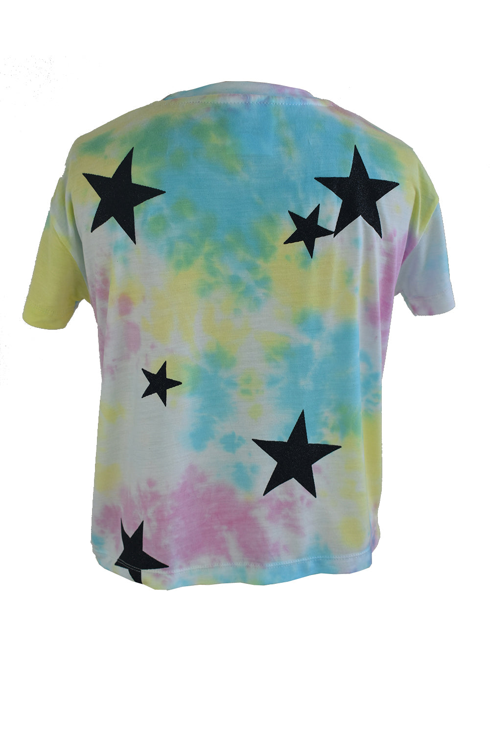 Pastel Black Glitter Star Cropped Tee