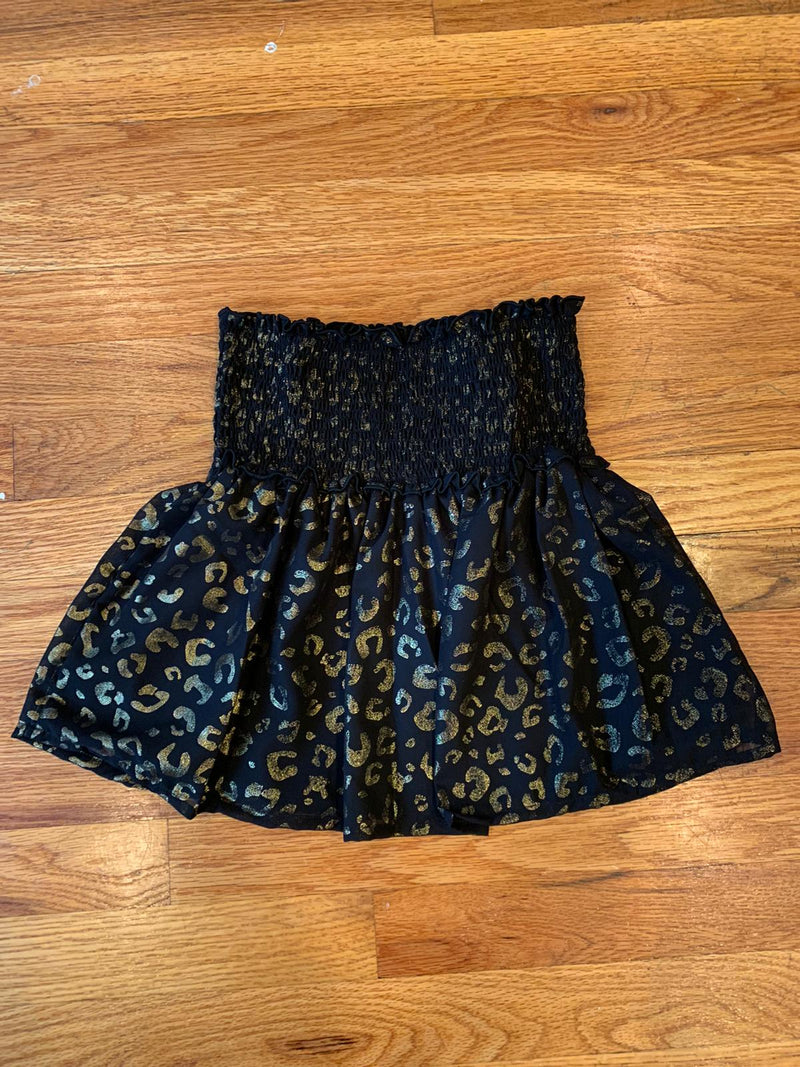 Gold Leopard Smocking Skirt