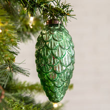 Load image into Gallery viewer, Green Pine Cone Glass Ornament - Box of 4