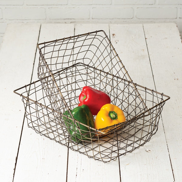 Set of Two Storage Wire Baskets