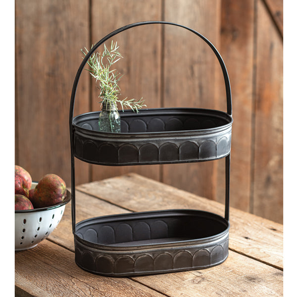 Two-Tiered Corrugated Oval Tray - Black