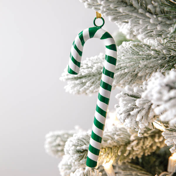 Green Candy Cane Ornament - Box of 4