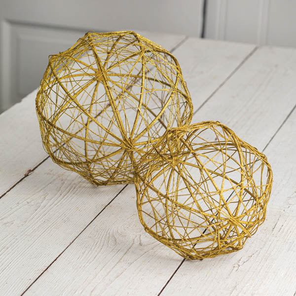 Set of Two Gold Glitter Ball Ornaments