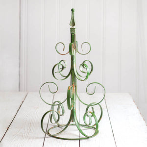 Scrolled Metal Christmas Tree - Green