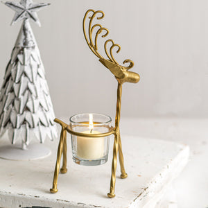 Curly Antler Reindeer Votive Holder