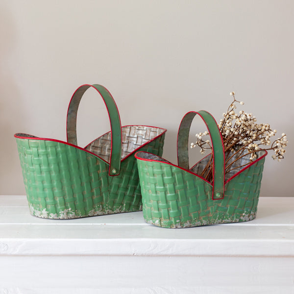 Set of Two Holiday Metal Baskets