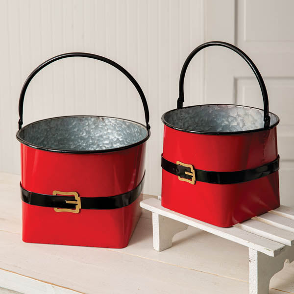 Set of Two Large Santa Suit Buckets