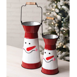 Set of Two Snowman Containers with Handles