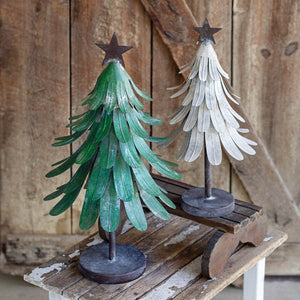 Set of Two Metal Christmas Trees