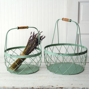 Set of Two Robins Egg Wire Baskets