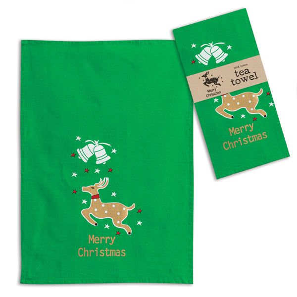 Merry Christmas Reindeer Tea Towel