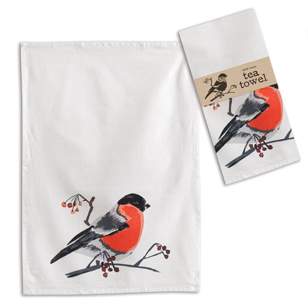 Bird with Berries Tea Towel
